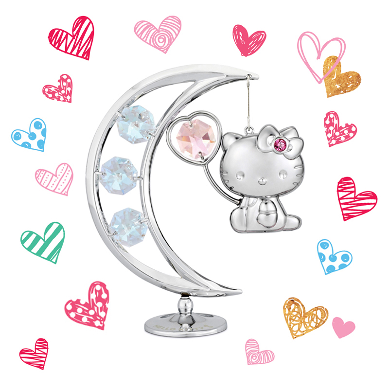Hello Kitty Crystal Flying to the Moon Figurine Rosaline | crystocraft.com