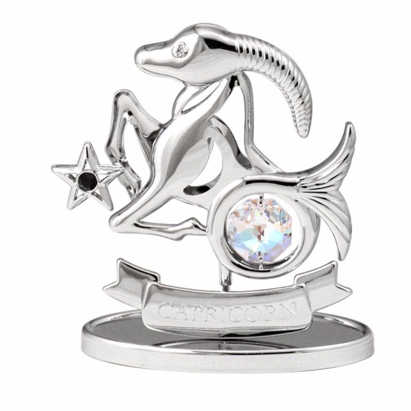 Zodiac Capricorn Crystal Figurine Chrome |crystocraft.com