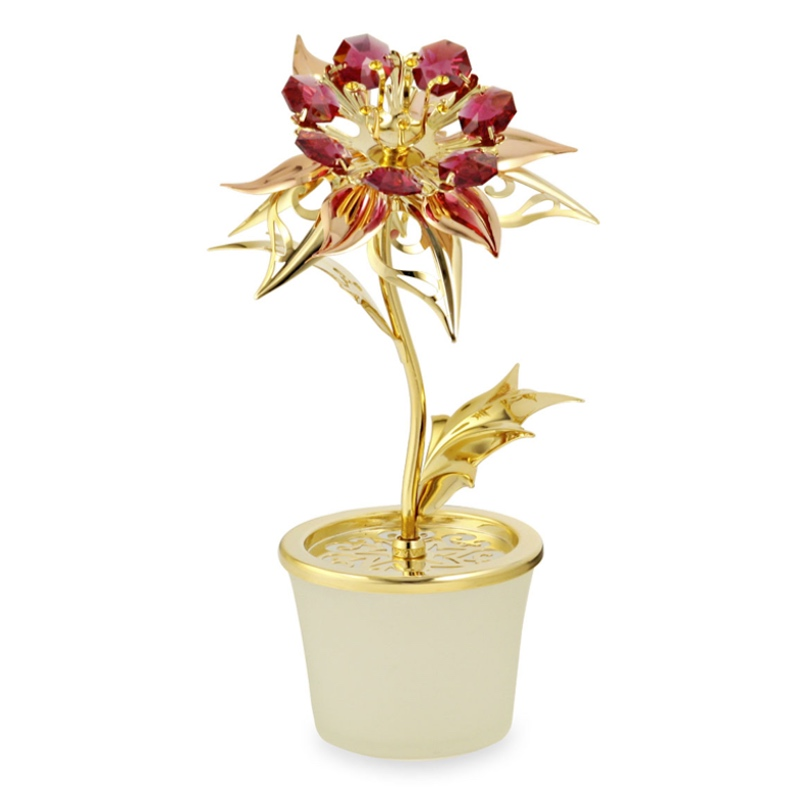 Poinsettia Flower Crystal Figurine | crystocraft.com