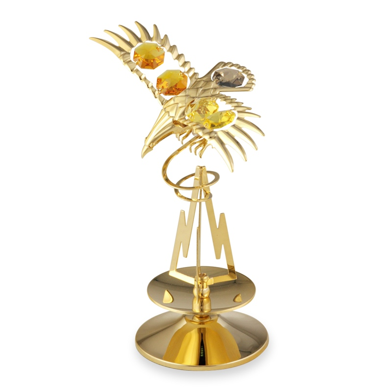 Crystal Eagle on Mountain Figurine