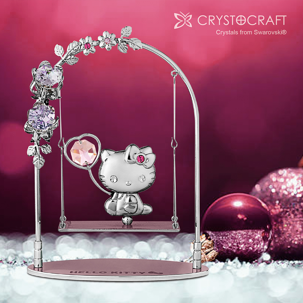 Hello Kitty Crystal Swing Figurine | crystocraft.com