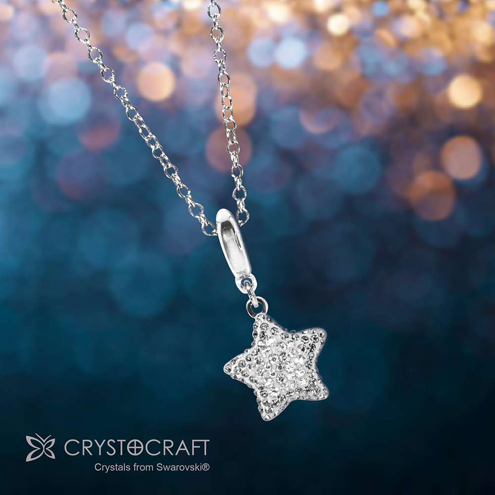 Silver Star Charm Crystal Necklace | crystocraft.com