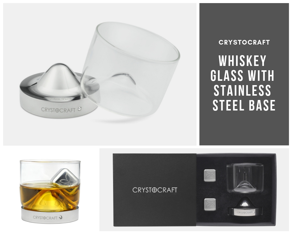 Customised Whiskey Glass with Stainless Steel Base and Cube
