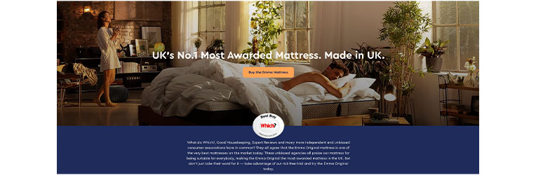 Emma Mattress use brand reviews and reputation in their marketing