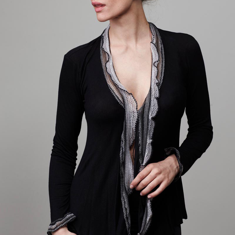 Model wearing black cardigan