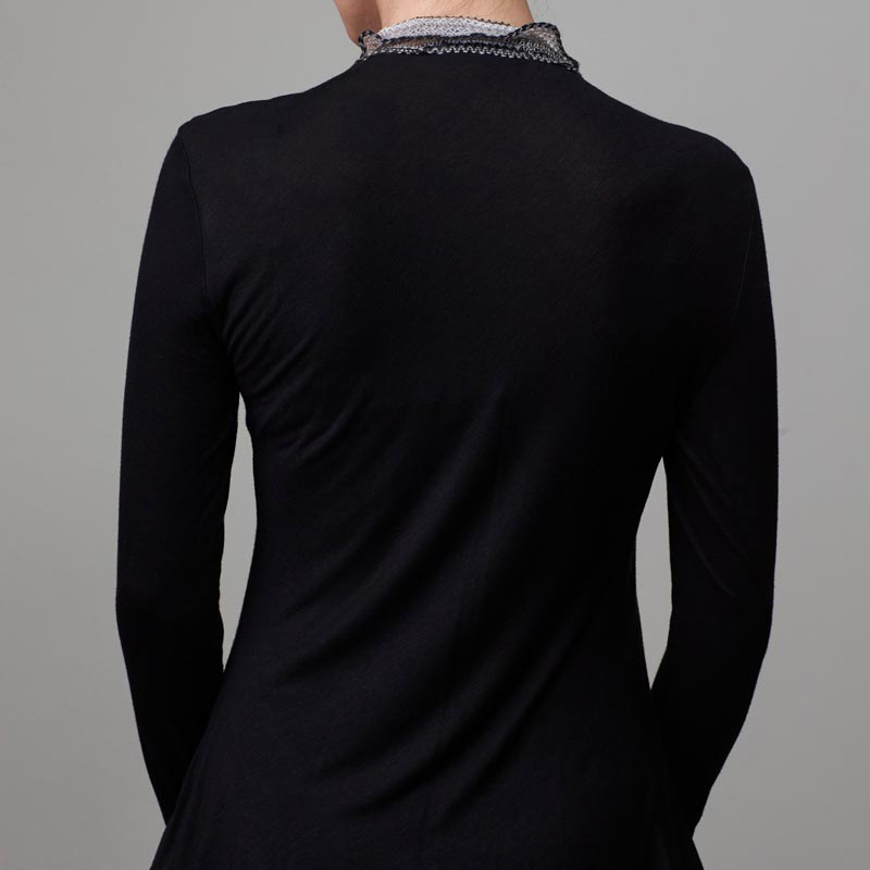 Back of model wearing black cardigan