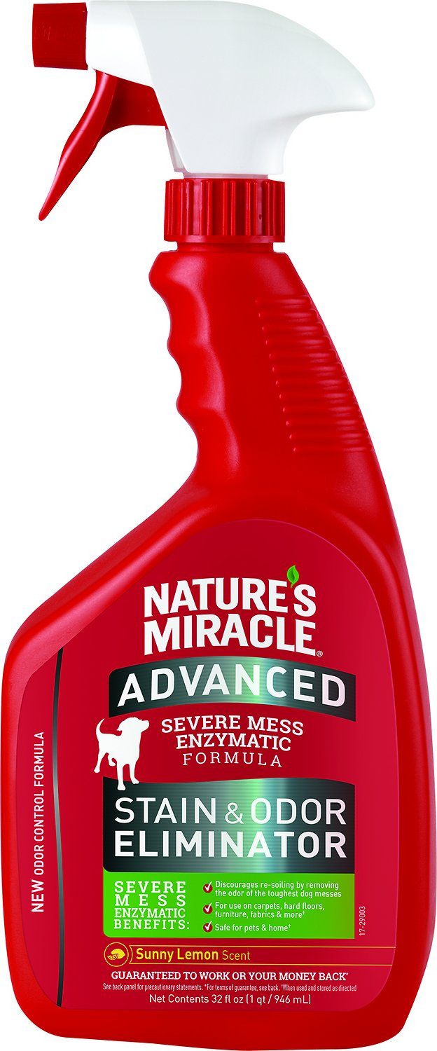 Nature's Miracle Advanced Dog Stain & Odor Remover Spray Sunny Lemon, 32-oz bottle