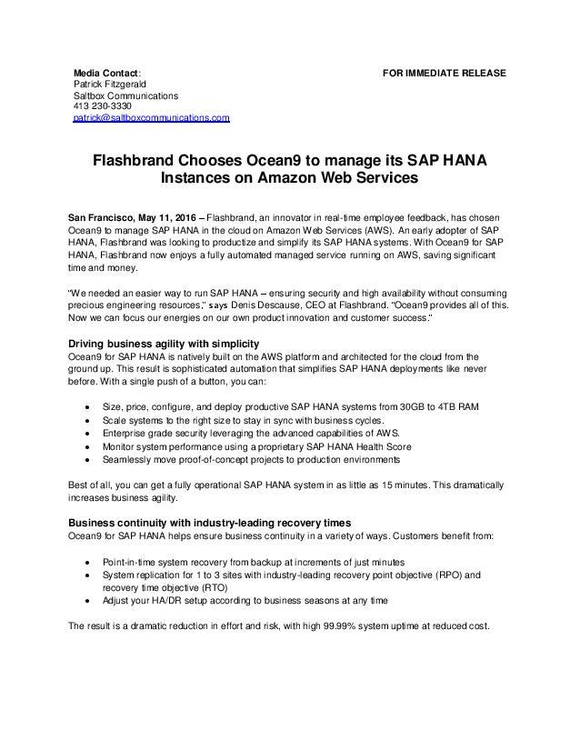 Ocean9 | Resources: Flashbrand chooses Ocean9 for HANA-as-a