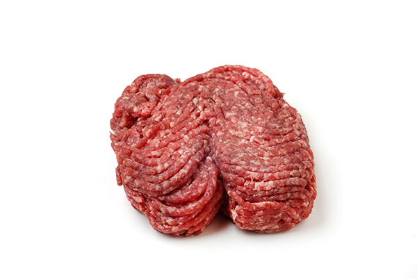 Raw ground beef for use in cooking custom homemade dog food.