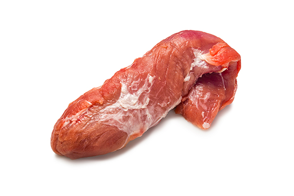 Raw pork sirloin meat for use in cooking custom homemade dog food.