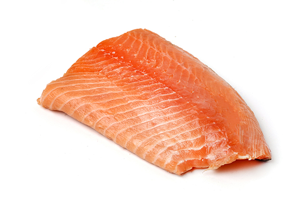 Raw salmon filet for use in cooking custom homemade dog food.