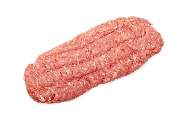 Raw ground turkey meat for use in cooking custom homemade dog food.