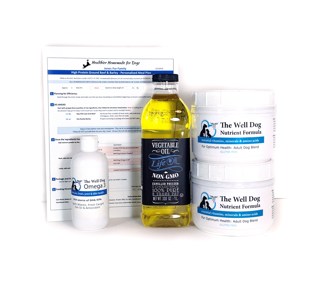 Shows sample starter kit with nutrient powder, omega3 oil, soybean oil, and personalized recipe