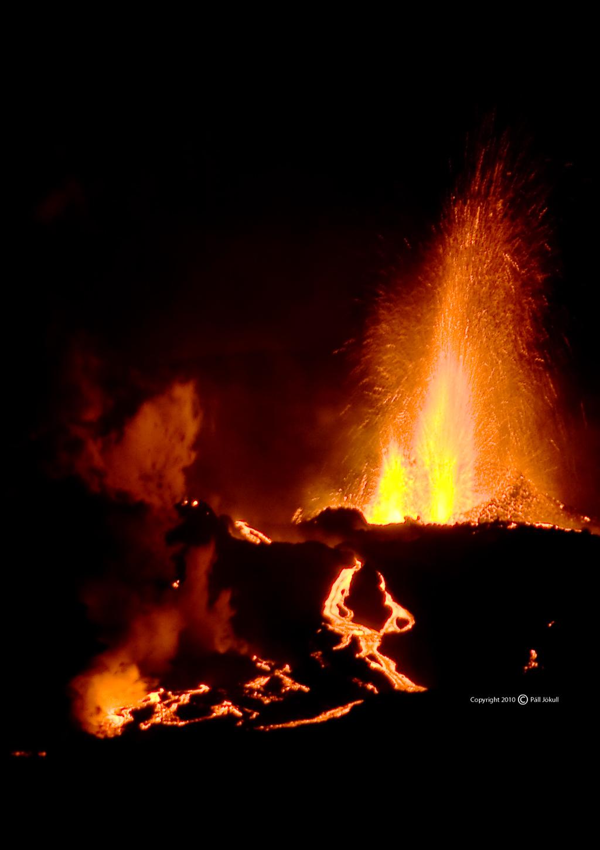 Volcanic eruption at Fimmvörðuháls volcano in 2010.