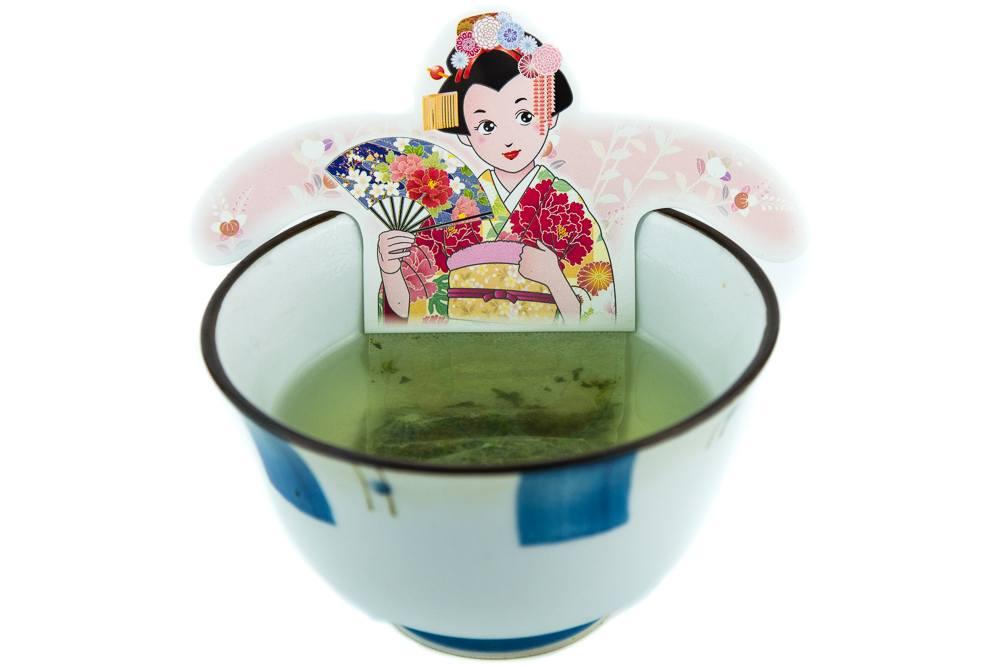 sachet de thé vert japonais avec personnages