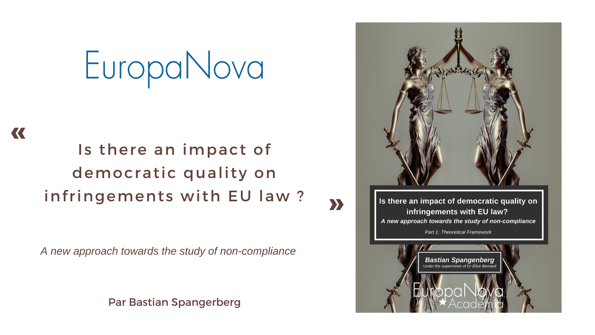 Is there an impact of democratic quality on infringements with EU law ? Une étude de Bastian Spangerberg