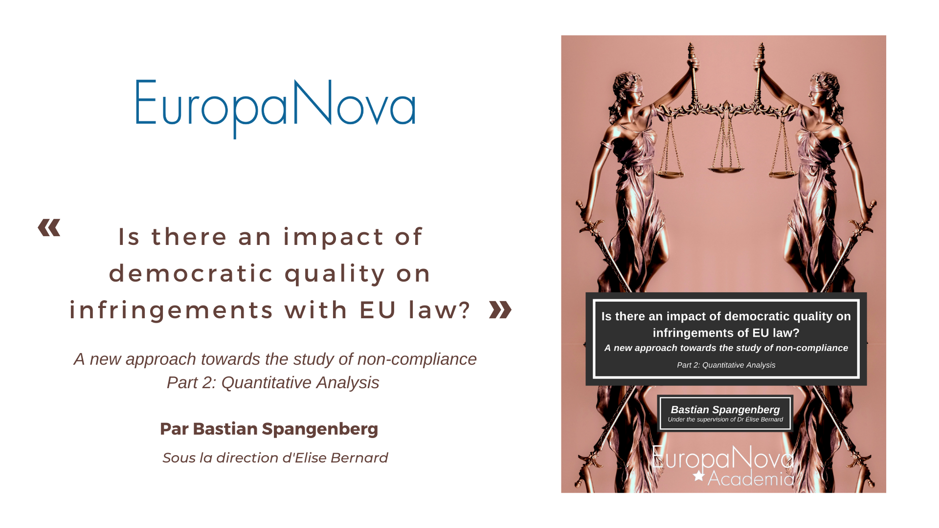 Is there an impact of democratic quality on infringements with EU law ? Une étude de Bastian Spangenberg (Partie II)