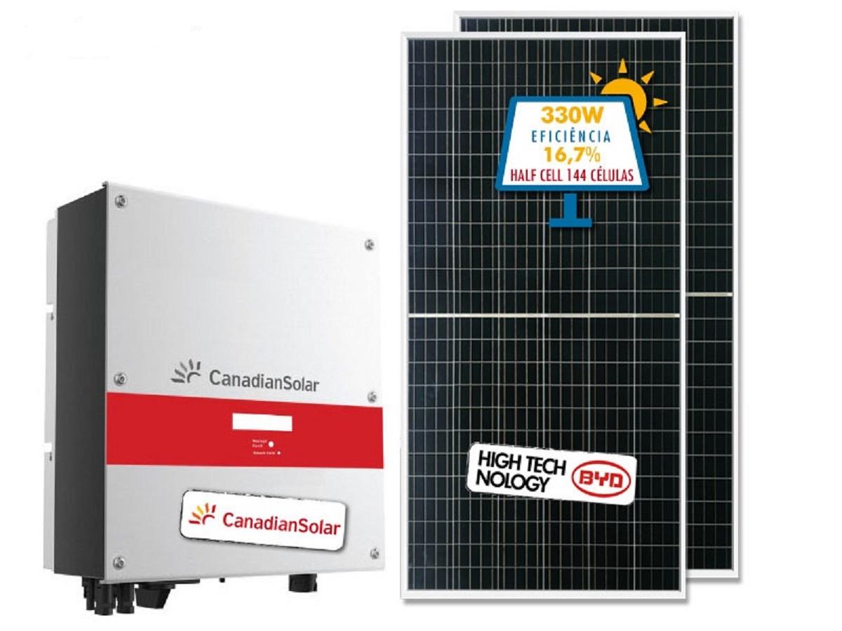 1ba0bb464be Gerador de Energia Solar com Inversor Canadian e placa BYD