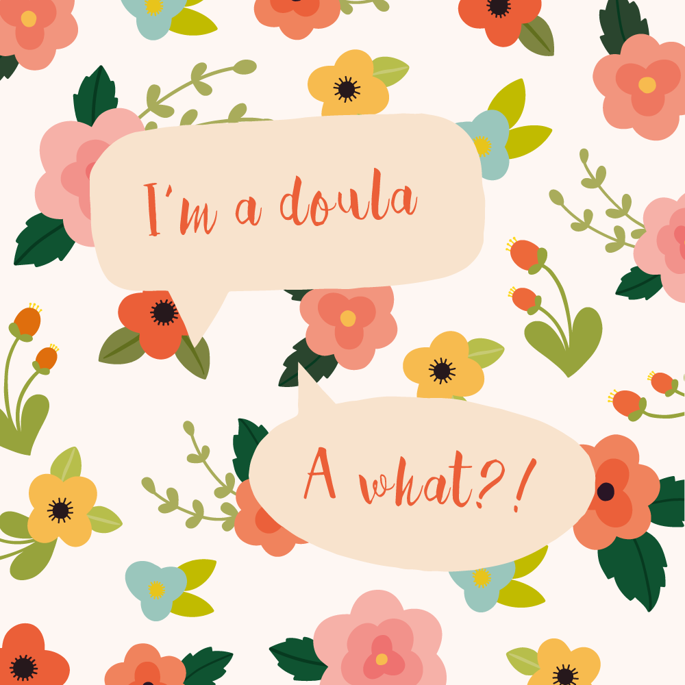"Conversation with a doula meme with floral background that says ""I'm a Doula. A What?!"""