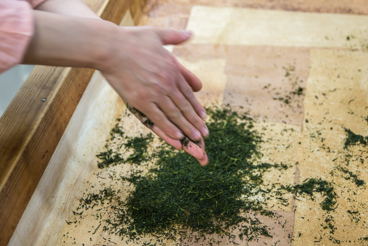 Hands rolling tea leaves to make green tea in Chiran area, Kagoshima, Japan.
