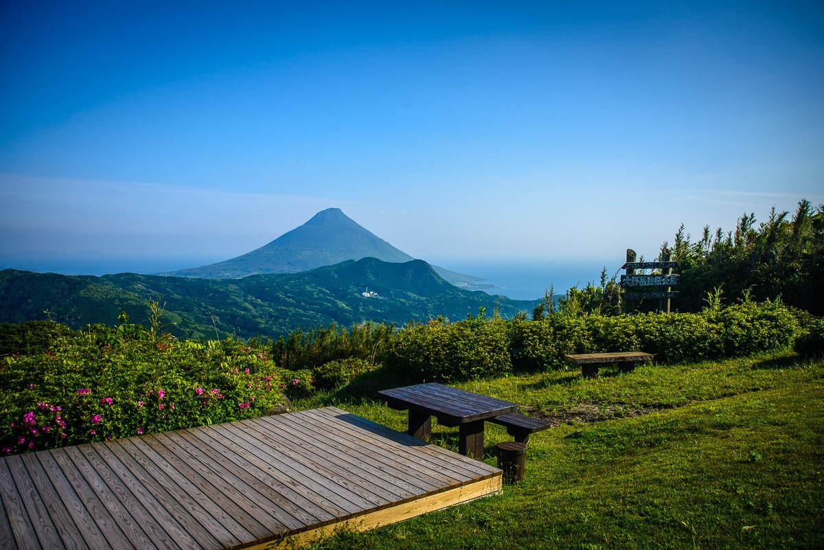 Scenic view of Mt. Kaimondake in Minami-Kyushu region, Kagoshima prefecture, south of Japan.