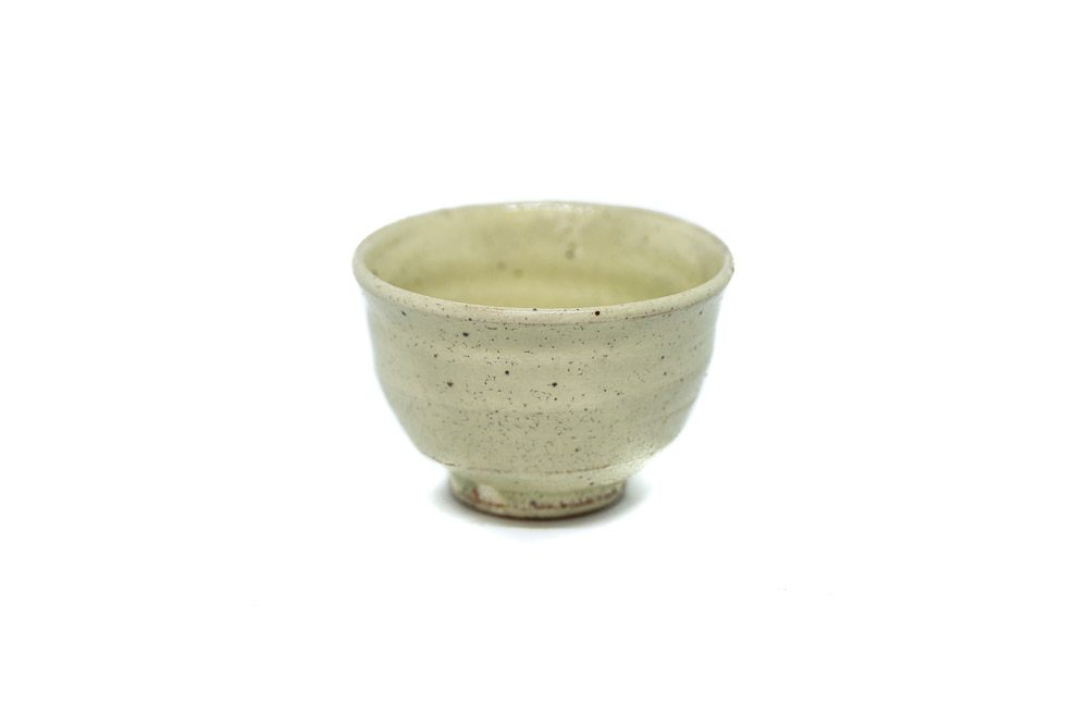 A handmade white tea cup made in Karatsu, Saga, Japan.