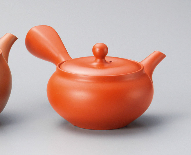Traditional Tokoname tea pot with its distinctive red color.
