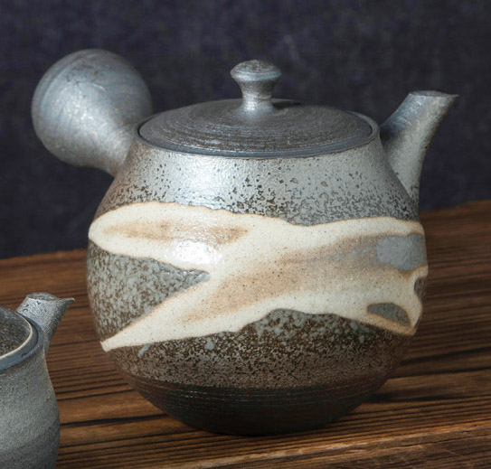 Grey and brown Tokoname tea pot.