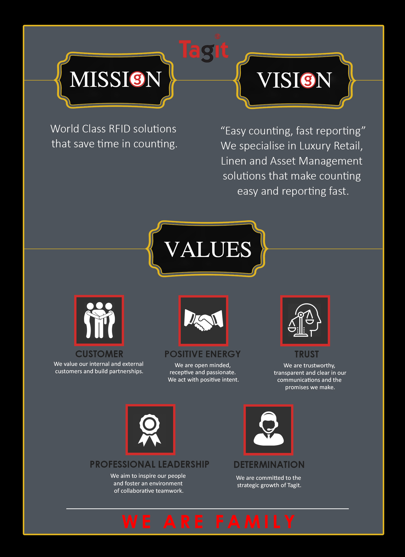 Our Mission & Values at Tagit Global is what defines us!