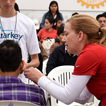 Dr. Elkins tests patient hearing, Mission Trip to Chimbote, Peru