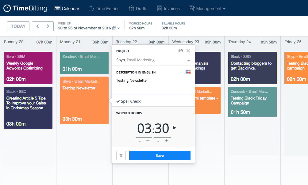 TimeBilling time tracker calendar feature