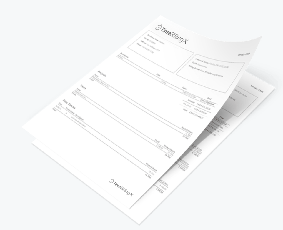 Invoice generated with TimeBilling time tracker