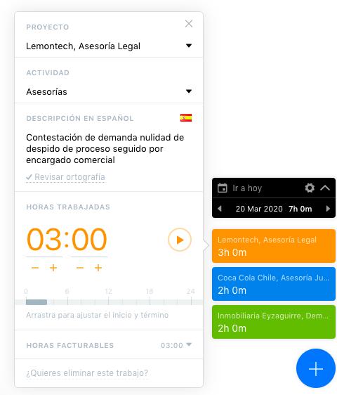 TimeBillingX ingreso de horas desktop