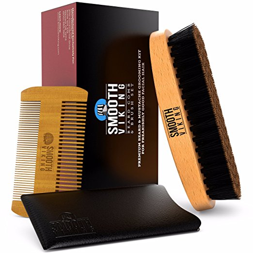 Beard & Mustache Brush and Comb Kit - Boar Bristle Beard Brush & Wooden Grooming Comb - Facial Hair Care Gift Set for Men - Distributes Products & Wax for Styling,...