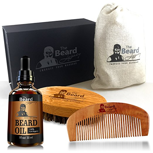 BEARD CARE KIT + Comb + Brush + Oil + Luxury Gift Box. Made in USA 100%, Bamboo Boar Bristle Easy Grooming, Unscented Leave-In Conditioner, Mustache Goatee..