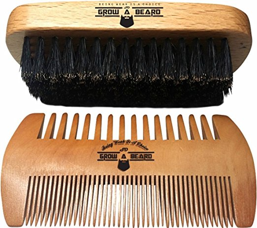 Beard Brush and Comb Set for Men - Friendly Gift Box And Cotton Bag - Best Bamboo Beard Kit for Home and Travel - Great for Dry or Wet Beards - Adds Shine and Softness to...