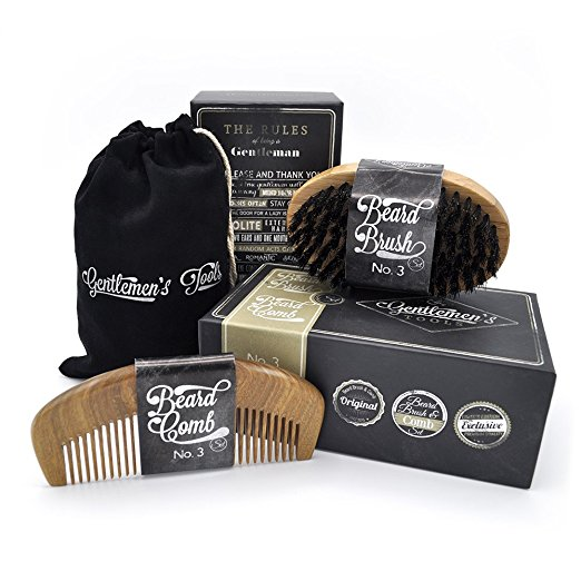 Beard Comb & Brush - SET - for Men, Sandal Wood COMB, 100% Natural Boar Bristle BRUSH, Best for Grooming Facial Hair and Mustache, use with Balm, Oil and Wax,..