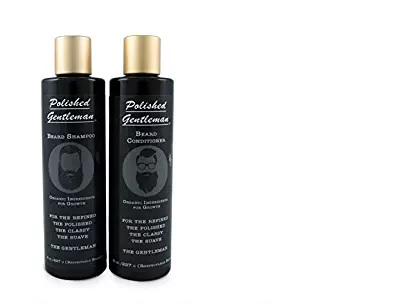 Beard Growth and Thickening Shampoo and Conditioner - With Organic Beard Oil - Best Beard Wash - For Facial Hair Growth