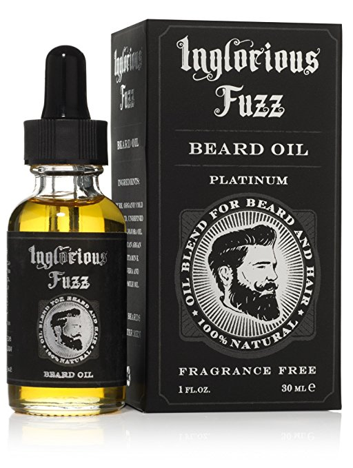 Beard Oil By Inglorious Fuzz- Beard Growth- Beard Hair Skin Conditioner- Pure Organic Golden Jojoba Oil, Chamomile & Argan Oil, Vit E, Aloe Vera - Fragrance Free - Better...