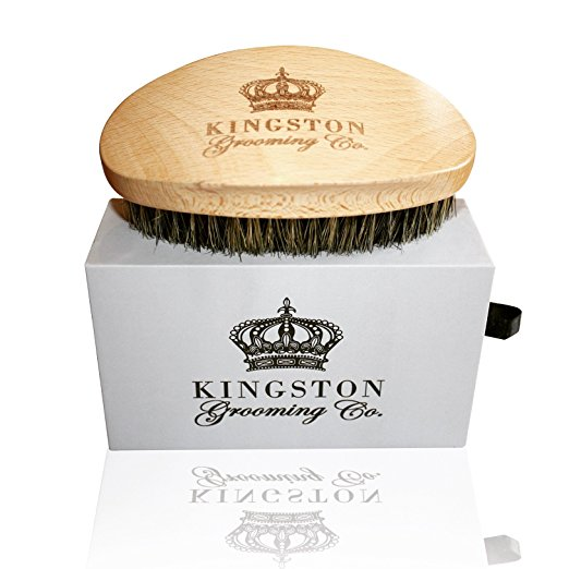 Kingston Grooming- Professional Quality, 100% Natural Wooden Dual Boar Hair Bristle Beard and Hair Brush for Men. Solid Beechwood and Engraved Contour Design with Travel Case