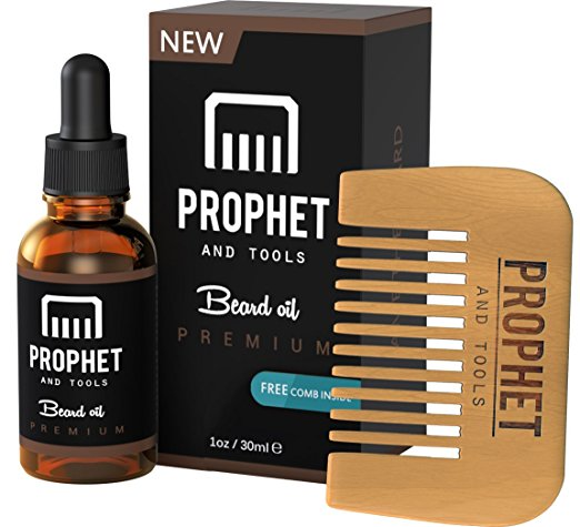 Prophet and Tools 30ML Men's Beard Oil and Comb Kit | Best Beard, Mustache & Goatee Growth Oil | Leave-In Conditioner and Softener | 100% Natural & Organic.