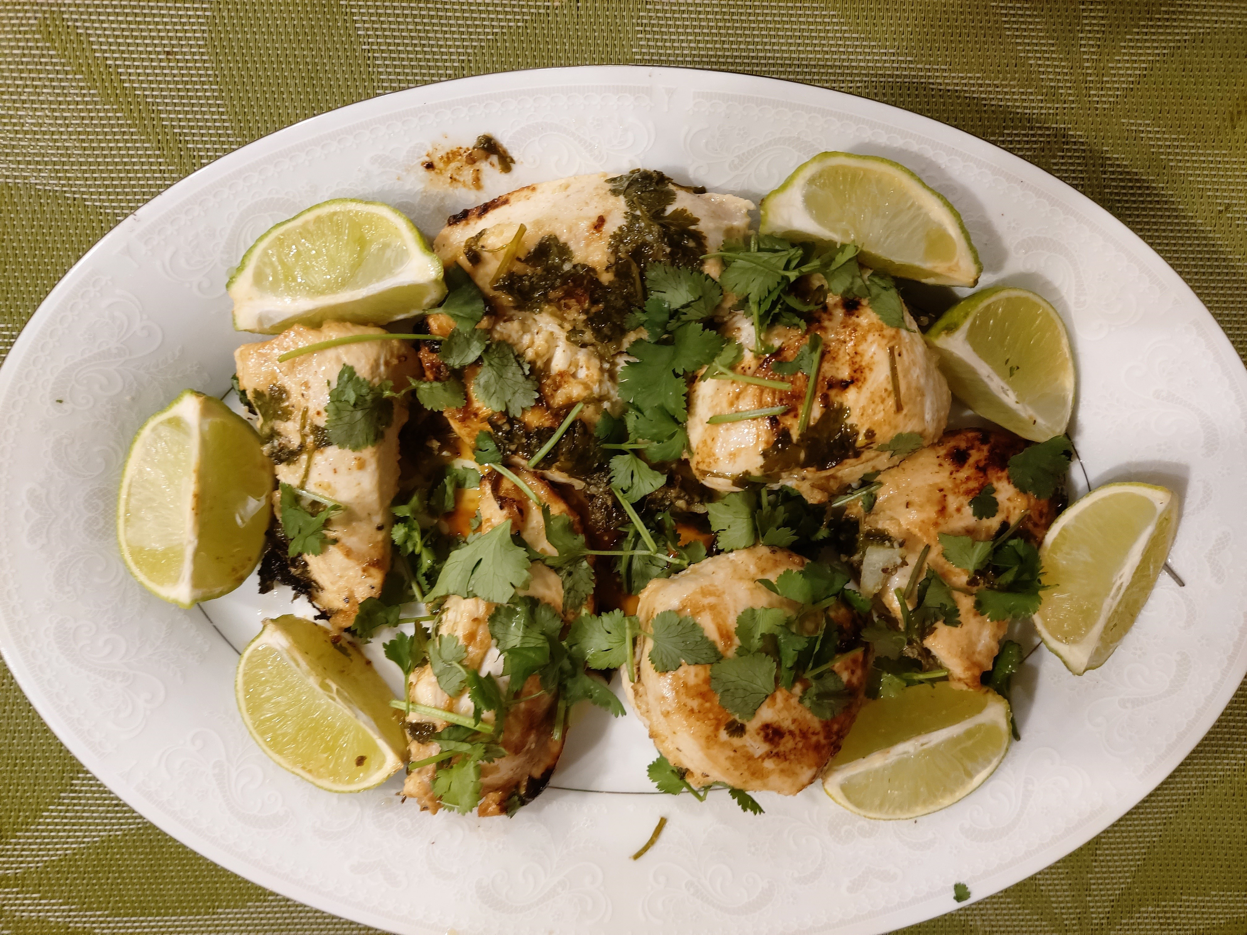 Lime chicken with mango sauce