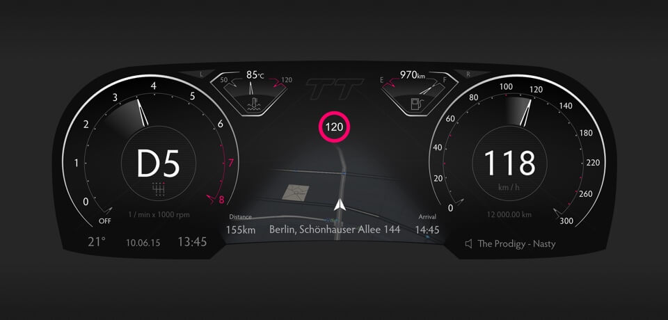 "Audi TT digital gauges concept for ""virtual cockpit"" driver screen design"