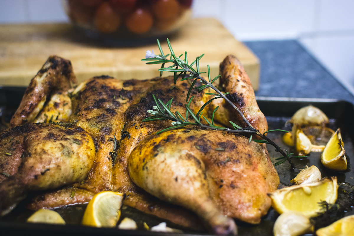 Rosemary Lemon Roast Chicken with Sweet Potatoes