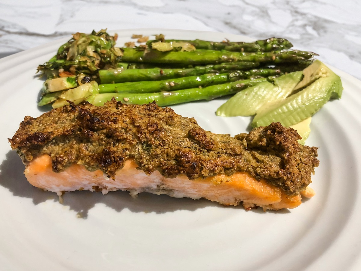 Pesto Almond Crusted Salmon (Paleo, Keto)