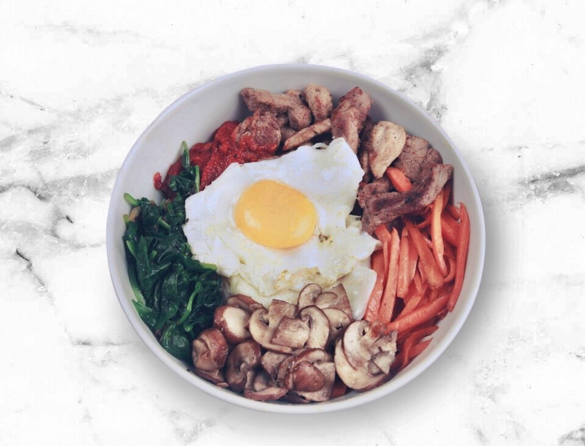 Healthier Bibimbap: Cauliflower Rice & Chopped Chicken Bulgogi (Paleo, Keto)