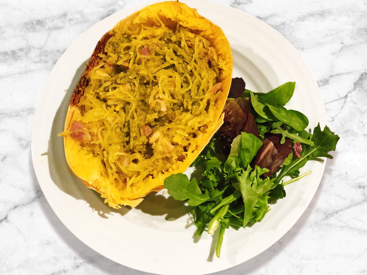 Chicken & Pesto Spaghetti Squash Boats