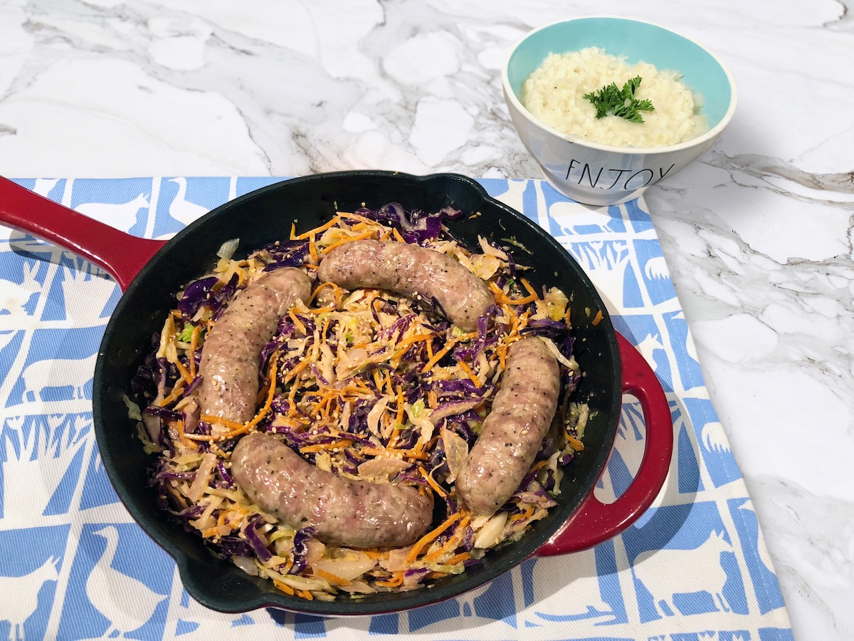 Bratwurst Sausage & Wilted Slaw Skillet