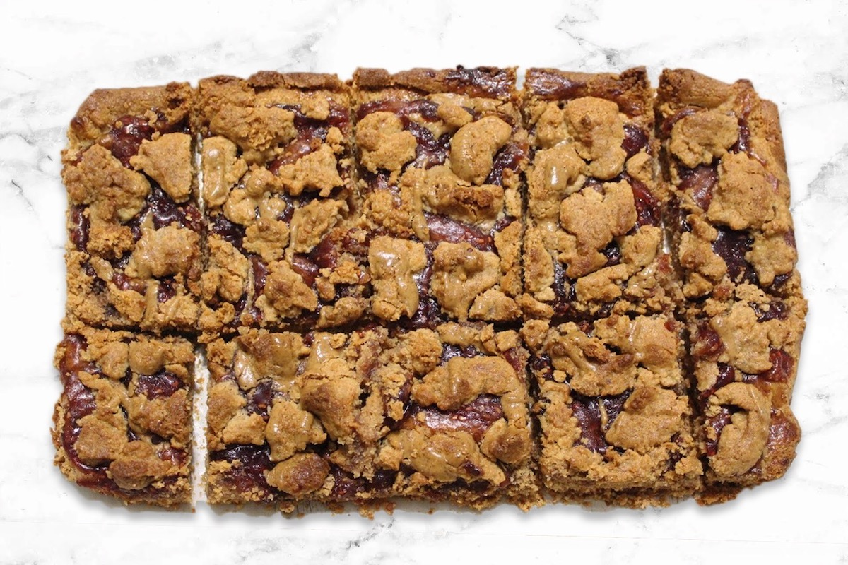 "Paleo ""Peanut Butter + Jelly"" Breakfast Bars"