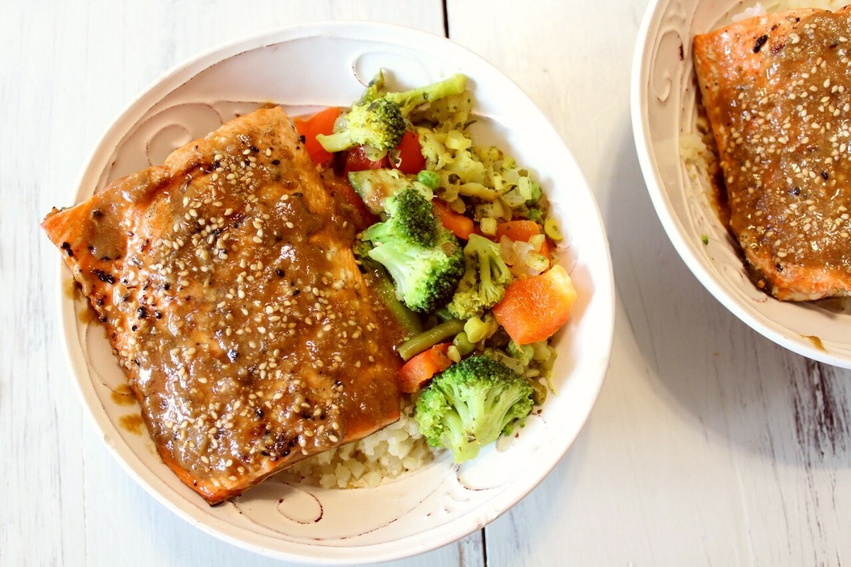 Teriyaki Almond Butter Salmon (Paleo)